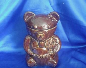 Brown Teddy Bear Biscuit Barrel / Cookie Jar Made in England