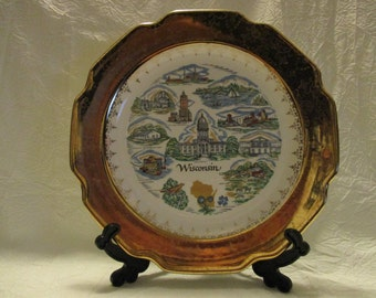 Vintage Wisconsin State collectors plate 9 1/4 inches