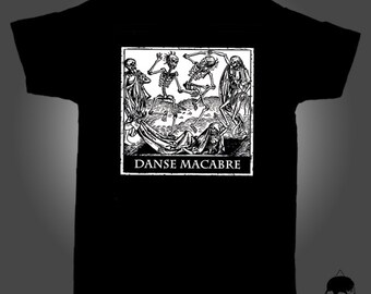 Unisex T-Shirt with medieval illustration DANSE MACABRE