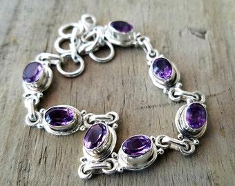 Amethyst Bracelet - Silver Amethyst Crystal Bracelet - February Birthstone Jewelry - Silver Bracelet - Gemstone Bracelet