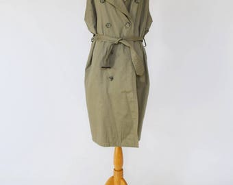 Sleeveless Military Trench / Long Vest (Modified Vintage)