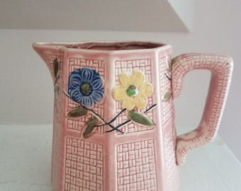Vintage Pink Ceramic Pitcher Octagonal with Flowers
