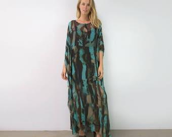 Printed Silk Tie Neck Caftan