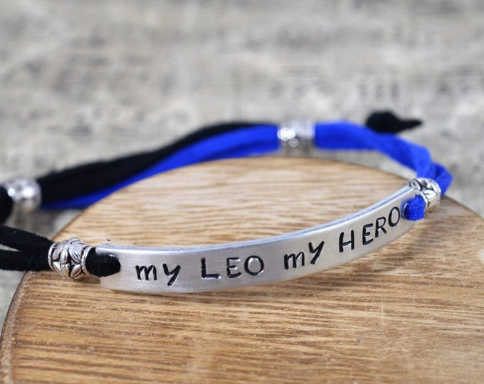 My LEO My Hero, Hand Stamped Adjustable Simple Bracelet, Unisex, Back The Blue, Blue Lives Matter, A Thin Blue Line, Police Support