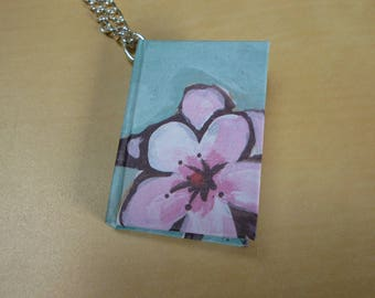 Mini book necklace, hardback miniature cherry blossom notebook, floral blue book necklace