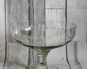 Vintage Glass Footed Bowl with Etched Decoration