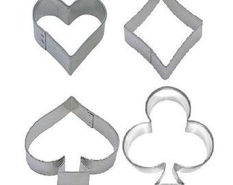 Card Suits Cookie Cutter Set - Face Cards (4 Piece Set) Hearts Diamonds Clubs Spades King Queen