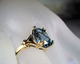 1950s, ED LEVIN, 10K Gold Ring, London Blue Topaz Ring, Blue Topaz Ring, Blue Ring, Solitaire Ring, Statement Ring, Vintage Ring – Size 6.75