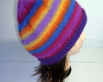 Knitted Beanie. Knitted Hat. Large Knit hat. Ladies Knit Beanie. Rainbow knit hat. Wool hat. Wool Beanie. Wool Knit Hat. Womens knit beanie.