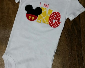Mickey Mouse inspired first 1st birthday onesie shirt bodysuit personalized embroidered applique boy girl