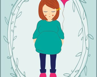 Custom Pregnancy Portrait -  Baby Announcement / Baby Shower / Baby Gift / Mother To Be - Illustration Print