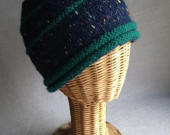 Blue Tweed Cap with Turquoise Rib and a button on top