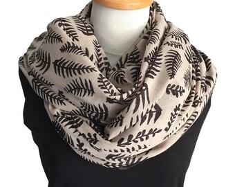 Block Print Cotton Scarf - Tropical Fern Design in Black and Cream - Handmade cotton beach sarong.