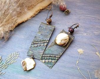 Earrings Rustic, large copper earrings, Textured copper, Drop Dangle, Boho Earrings Bohemian, Artisan Metalsmith Jewelry, Hammered Earrings