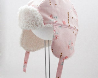 Aviator hat, Pink, Floral, Sherpa, Cotton, Fleece, Bomber, Roses, Gold, Ear flaps,  Winter, Cute gift idea, Mommy & Me, Warm, Girly, Cute