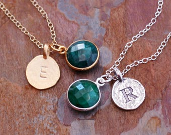Raw Emerald Initial Necklace Sterling Silver/Vermeil/Gold Fill-Letter Charms-Green Emerald Round Gold Necklace Silver Emerald-May Birthstone