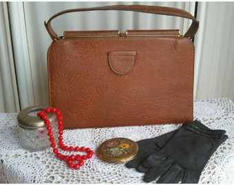 1960s  Leather Handbag Large Hand Bag Brown Tone Vintage Fashion Accessory