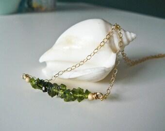 Tourmaline Bar Necklace, Raw Green Tourmaline Necklace, Layerd Necklace, Crystal Necklace, Delicate Necklace, Gemstone Bar Necklace