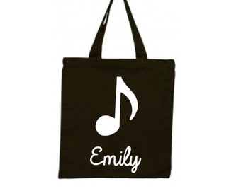 Personalized Music Class Tote Bag, Canvas Tote, Gift for Musician, Musician Bag, Treble Clef Tote, Singer Gift, Music Purse, Music Accessory