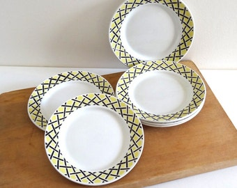 6 Vintage 1950s Yellow and Black Dessert Plates - French Mid Century Tableware