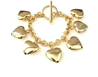 Vintage Chunky Puffy Gold Plated Heart Charm Bracelet