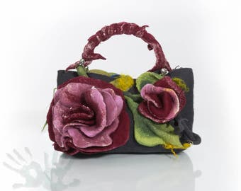 Graphite handbag with roses / Nuno felt / Felted bag / Handmade bag / Wool felted bag /Wool and silk / Made to order/ Free shipping.