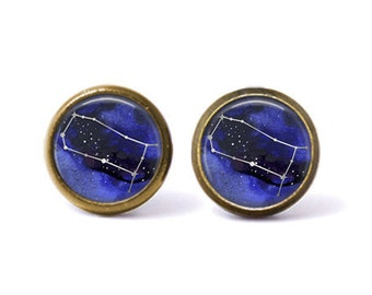 Gemini Constellation Stud Earrings | Gemini Earrings Constellation Jewelry Zodiac Earrings Galaxy Earrings Space Star Astrology Horoscope