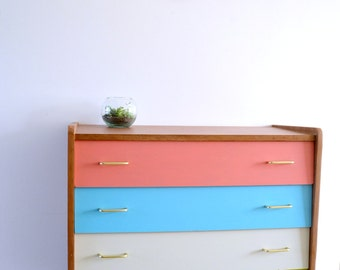 Chest of DRAWERS 4 drawers, drawers painted, varnished wood, vintage SCANDINAVIAN