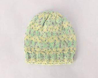 Cotton Baby Hat Hand Knit, Unisex Baby Beanie - Springtime Green/Yellow (Newborn)