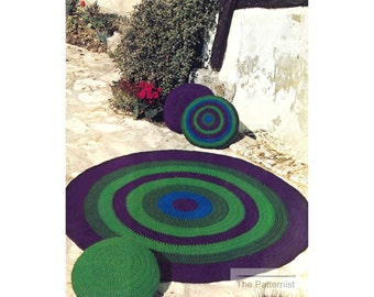 Vintage Crochet Pattern for Circular Rug and Pillow Cushions 1970s Boho Carpet Mat Easy Beginner Patern PDF Instant Download 49-6