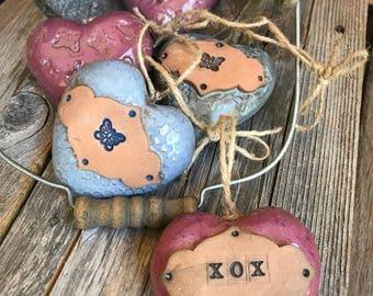 Ceramic Heart Rattle Ornament | Rustic Stoneware Heart | Pottery Heart Ornament | 3D Heart rattle | Shower favor | Housewarming Gift