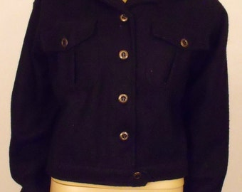 Black Wool Bomber Jacket/Waist Length/Button Front/Short Wool Coat/Erika Classics/Size Small/Vintage Jacket