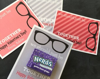 Personalized NERDS Valentine - Val007 -Red-Gray -  We should just be nerds together, candy, diy, printable, valentine's card, nerd glasses