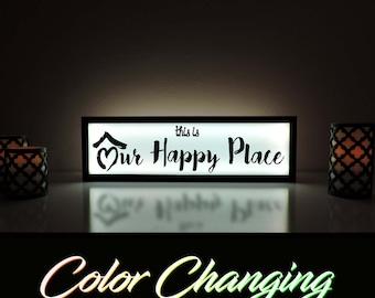 Our Happy Place, This is Our Happy Place, Our Happy Place Sign, Our Happy Place Light, Love Sign, Love Light, Bedroom Nightlight