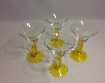 Yellow Lemon drop drink set of 4 glass stemware