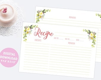 """4x6"""" and 3x5"""" floral printable recipe cards, double sided watercolor recipe organizer, DIY bridal shower gift, instant download"""