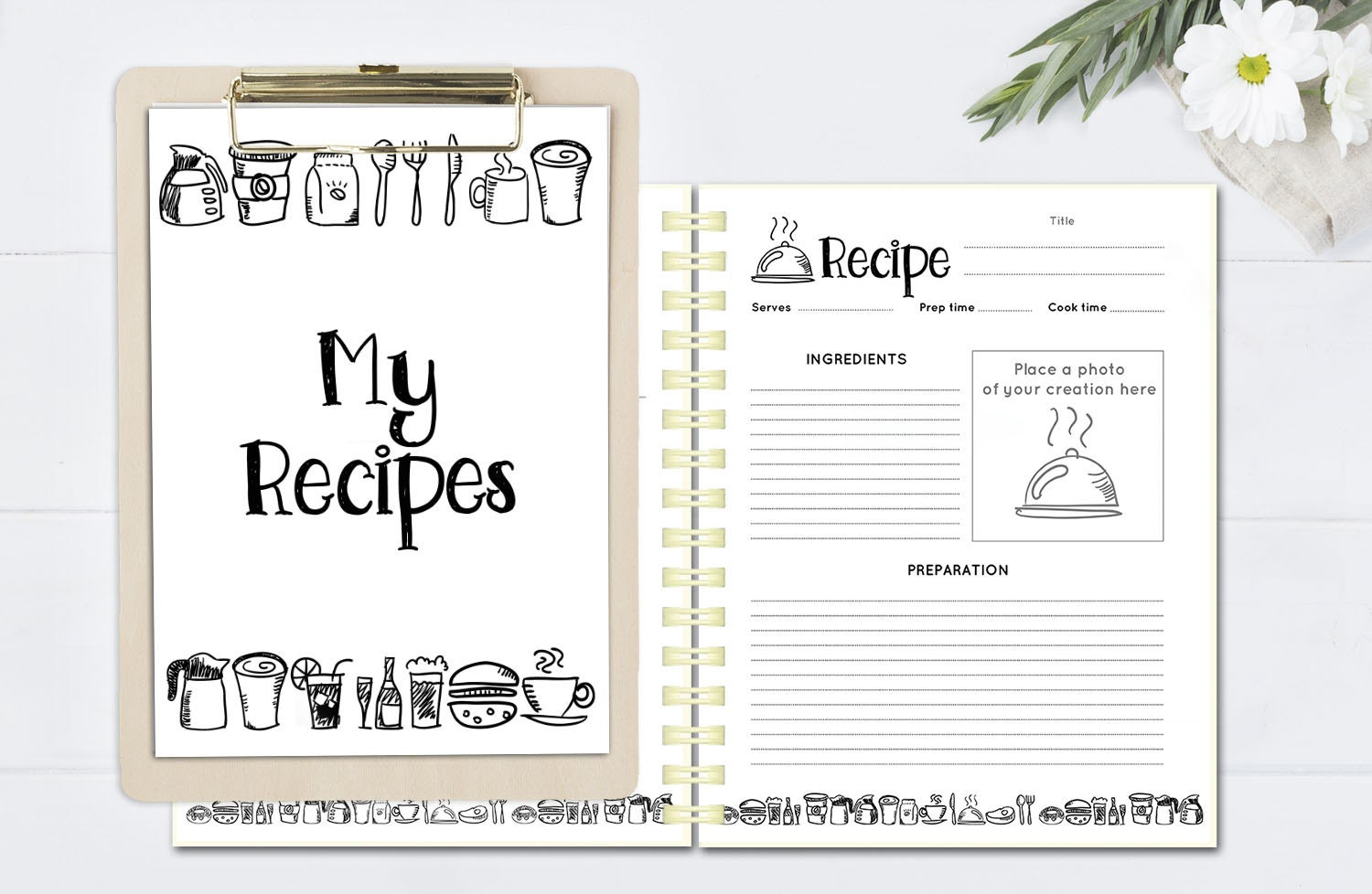 printable recipe binder kit  doodle recipe book  blank