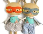 READY TO SHIP Bunny rabbit toy easter toys plush superhero rabbit stuffed animals plushie gift for twins children, toddler gift easter