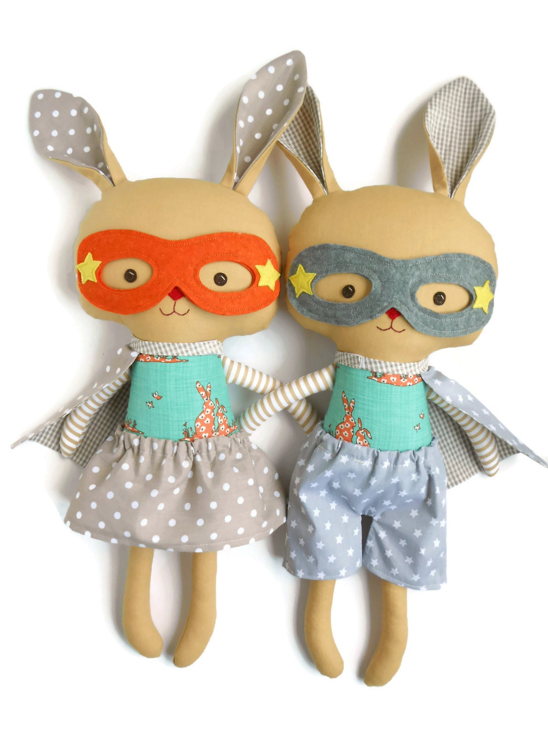 Toys Easter Magazine : Bunny rabbit toy easter toys plush superhero by lalobastudio