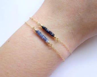 Sapphire bracelet, Dark blue Sapphire bracelet, September Birthday jewelry, birthstone blue sapphire beaded bracelet, something blue