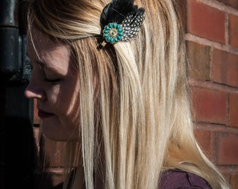 Black and White Pheasant Feather Hair Clip with Turquoise Flower Piece