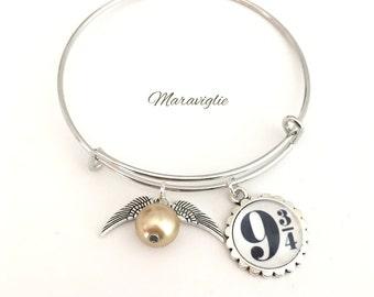 Harry Potter Bangle Bracelet, Quidditch Bracelet, 9 3/4 Bracelet, Golden Snitch Bracelet