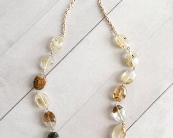 Cherry Quartz Statement Necklace, Gold Necklace, Anniversary Gift, Fine Jewelry, Birthday Gift Necklace
