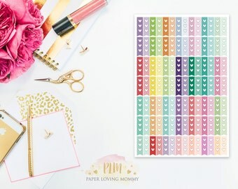 98 Mini Heart Checklist Stickers | Planner Stickers designed for use with the Erin Condren Life Planner | 0917