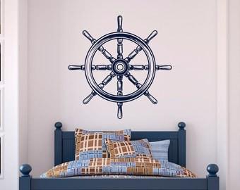 Nautical Nursery Wall Decals Ship Wheel Decor- Sea Ocean Wall Decal Nautical Nursery Bedroom Wall Art Home Decor- Nautical Vinyl Decals C086