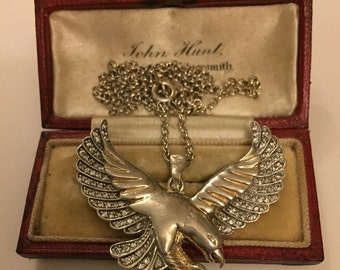 Vintage Silver flying Bird Necklace, lovely unusual item