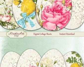 75% OFF SALE Easter Eggs 3 - Digital Collage Sheet Digital Cards C207 Printable Download Image Flowers Digital Atc Card Easter ACEO Cards