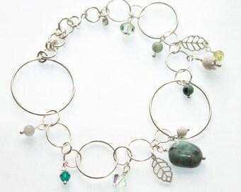 Emerald bracelet, emerald bead bracelet, genuine emerald bracelet, sterling silver charm bracelet, precious gemstone May birthstone bracelet