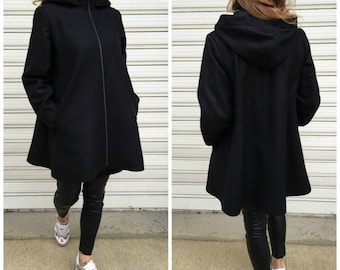 Black Wool Hooded Coat with Pockets / Women Lined Cape Coat / Cashmere Black Jacket / Long Sleeve Trench Coat / EXPRESS SHIPPING
