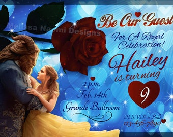 Beauty And The Beast Party Invitation, Choose Between 2 Design Styles, Belle & The Beast Enchanted Rose Invite, Birthday Party, Original Art